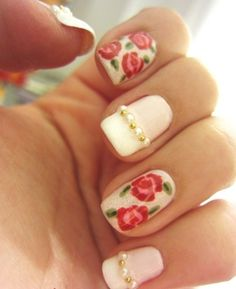 Beautifully decorated rose nail art design