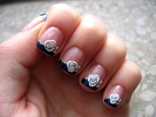 White rose nails for French manicure