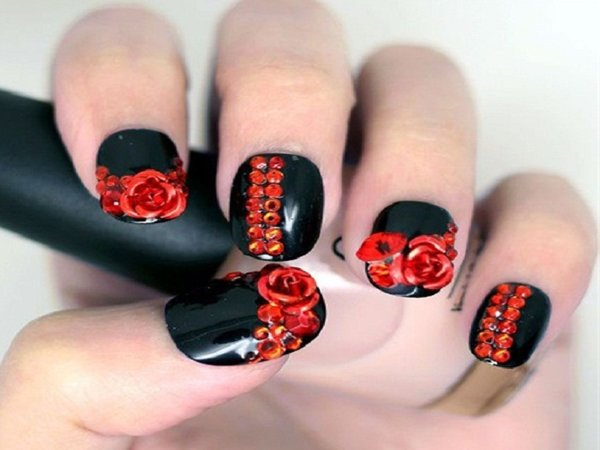 Black nails with red roses and rhinestones