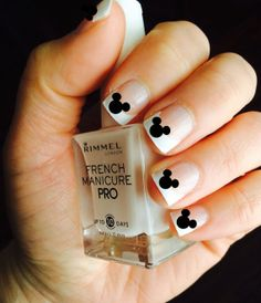 Mickey Mouse nails for French manicure