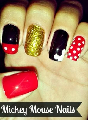 Glittery Mickey Mouse nails