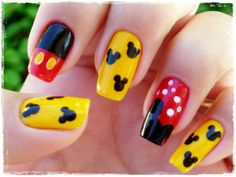 Nice Mickey Mouse nail art design