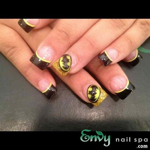 Batman Nail Art Design for French Manicure