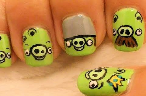 Green Angry Bird Nail Designs