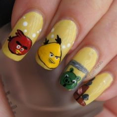 Mastard Yellow Angry Bird nail design