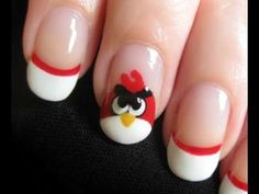 Angry Bird Nail Design for French Manicure