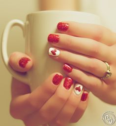 Beautiful heart shaped red nails