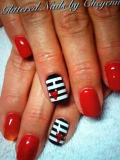 Striped red nails