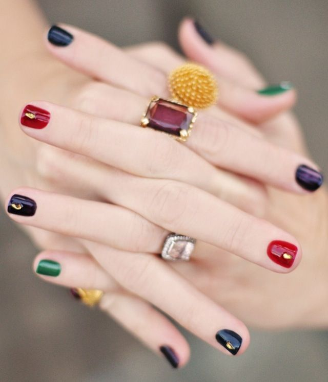 Decorated colored nails