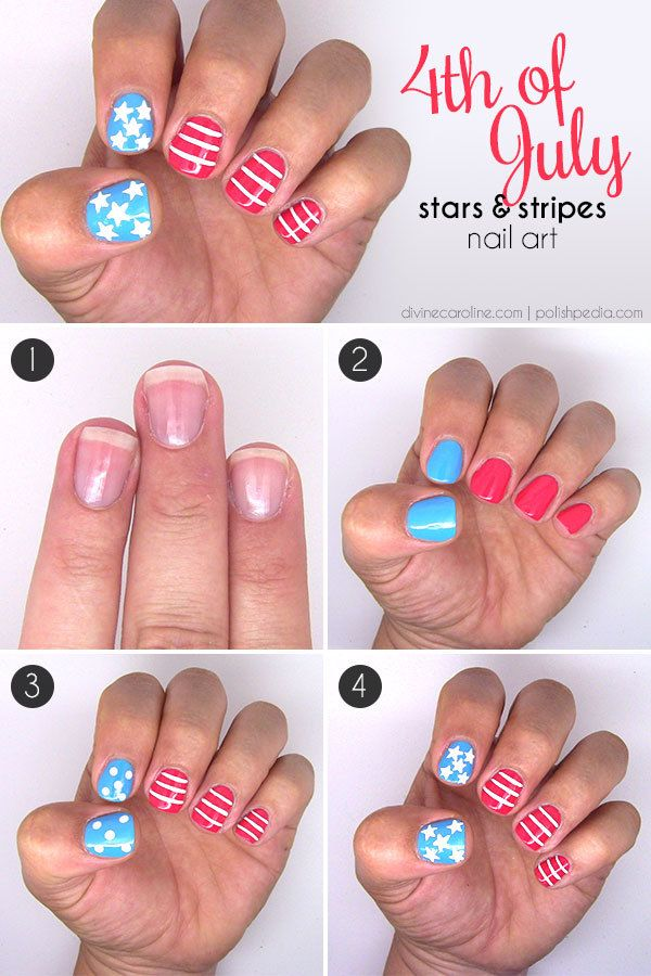 Star and stripe nails