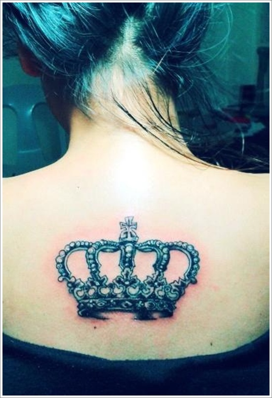 Cool crown tattoo on the back for women