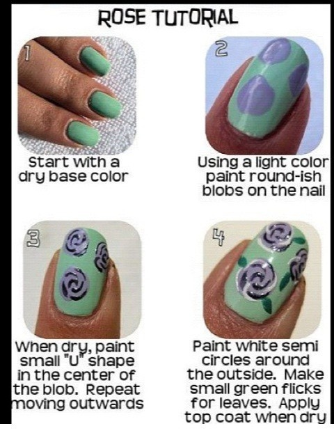 Mint nails with purple rose