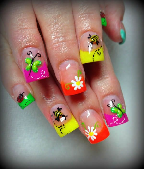 Nice neon nail design for kids