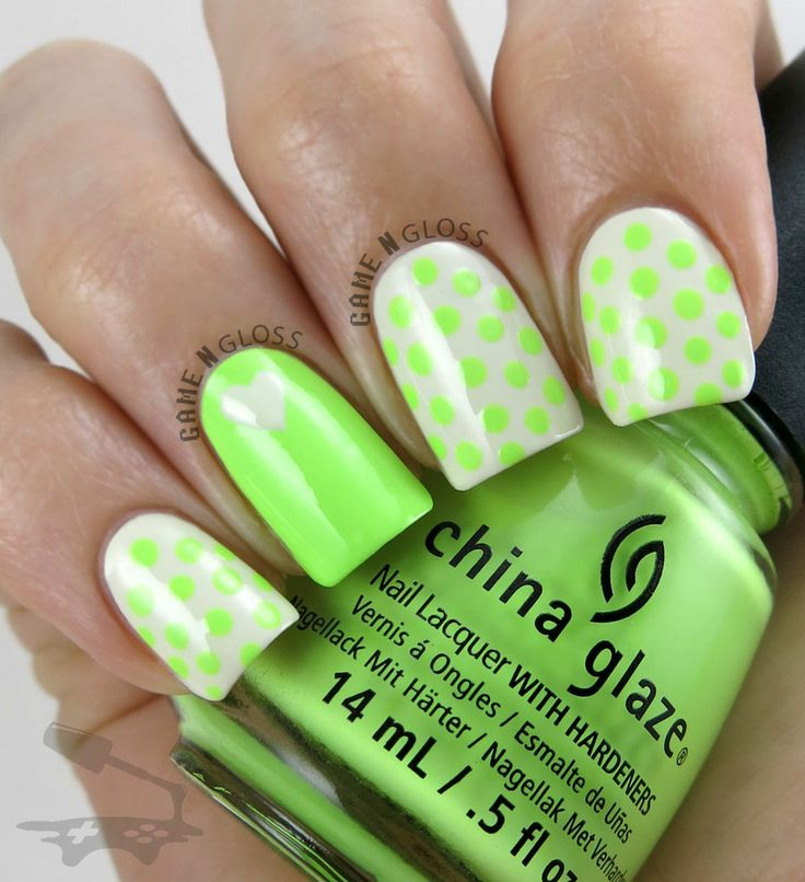 Dotted neon nail design