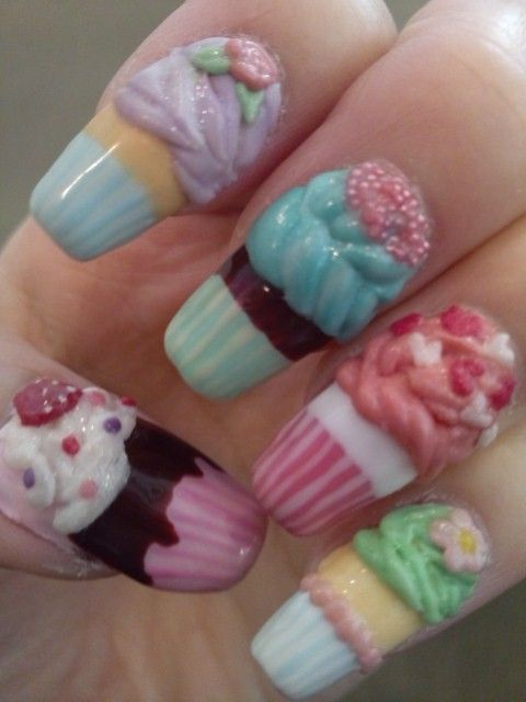 Nice cupcake nails for kids