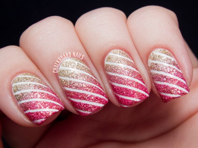 Blackboard striped nail art