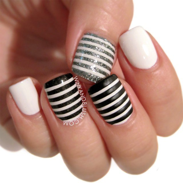 Black-gray and white stripes
