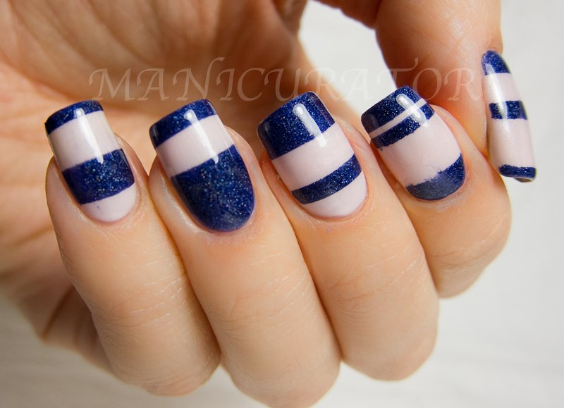 Blue striped nail art