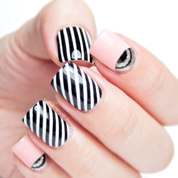 Classic black and white striped nail art