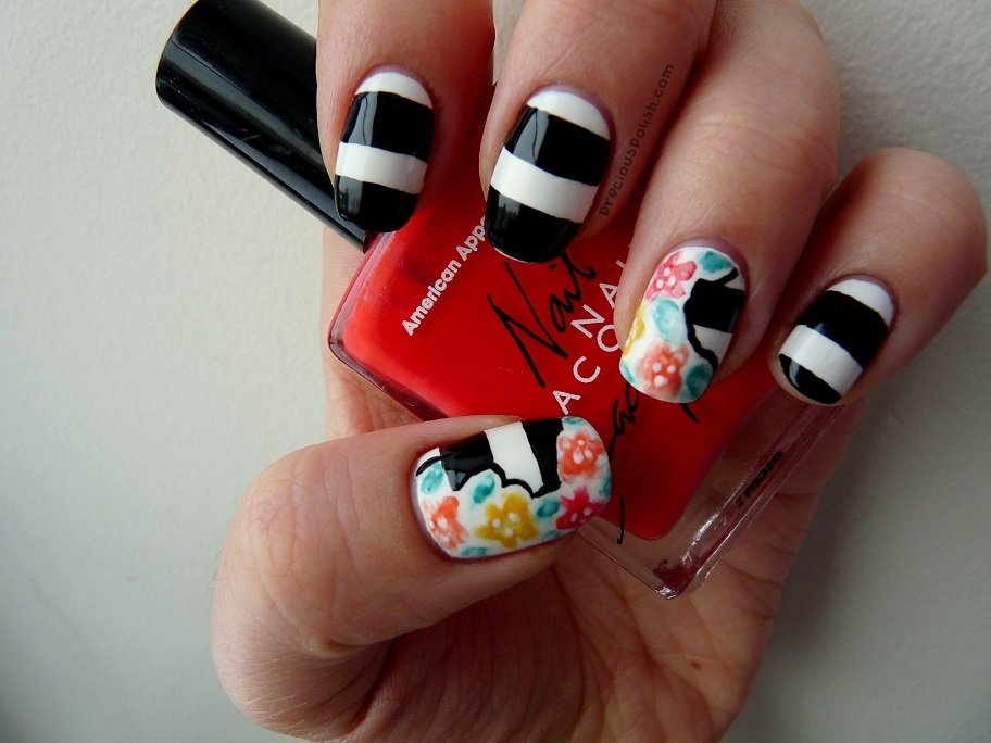 Floral striped nail art