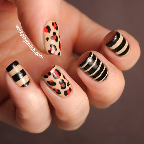 Leopard and striped nail art