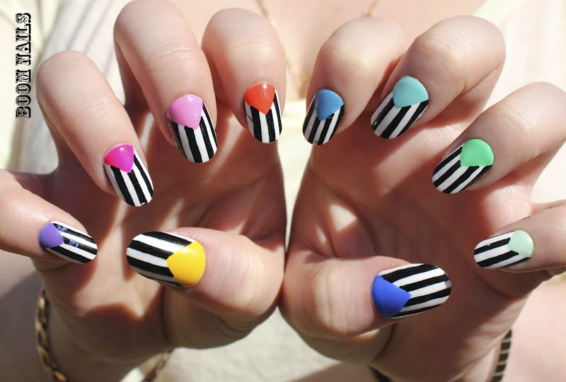Colorful striped nail art