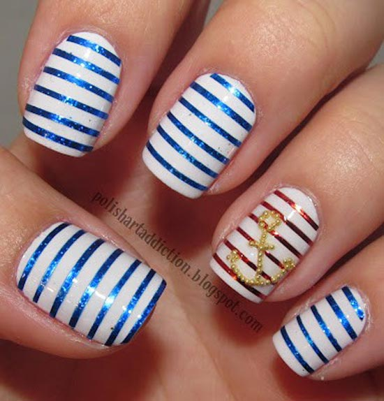 Navy Striped Nail Art