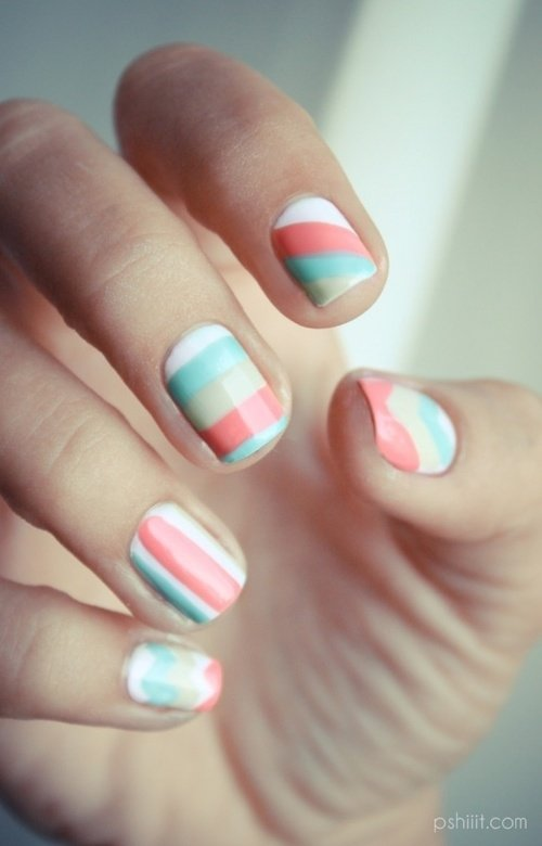 Pastel colored striped nail art