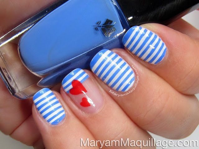 Heart and striped nail art