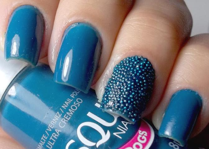 Blue decorated nails