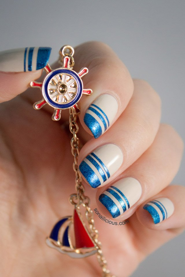 Nude nautical nail art