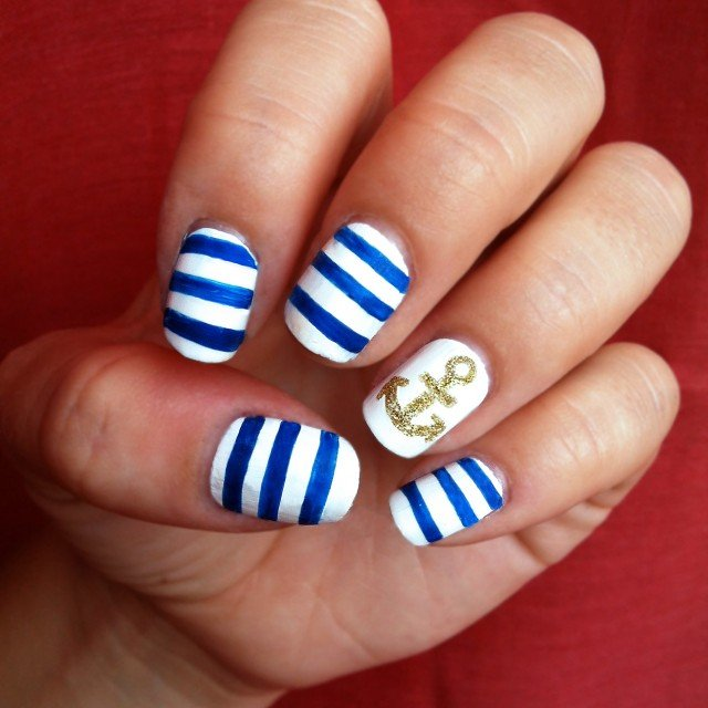 Blue and white nautical nail art