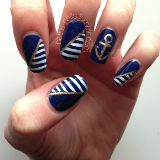 Blue nautical nail art