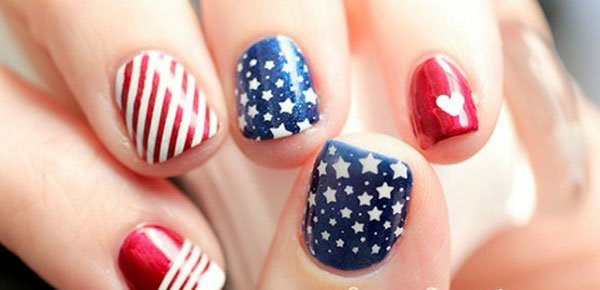 Interesting American flag-inspired nail design