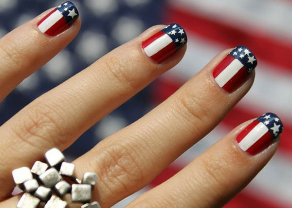 Nail design inspired by the American flag
