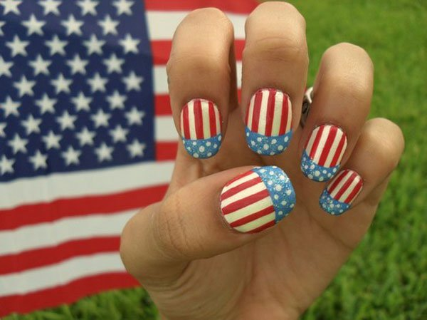 Striped American flag inspired nail design