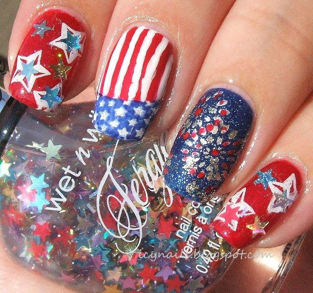 Sequin nail design with American flag