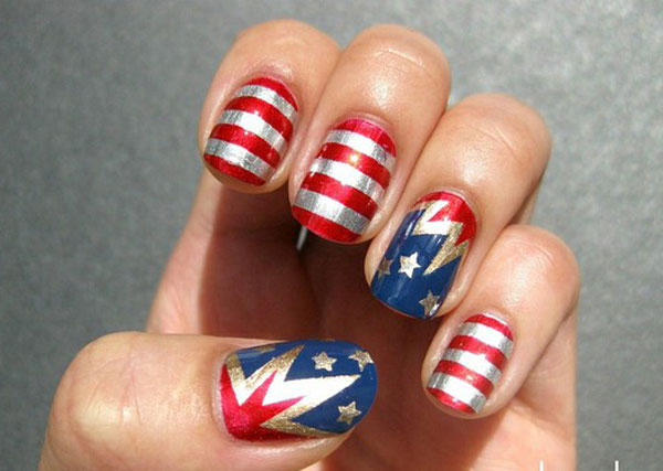 Mirrored American flag inspired nail design