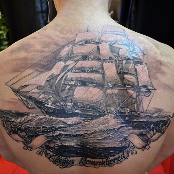 Boat back tattoo design