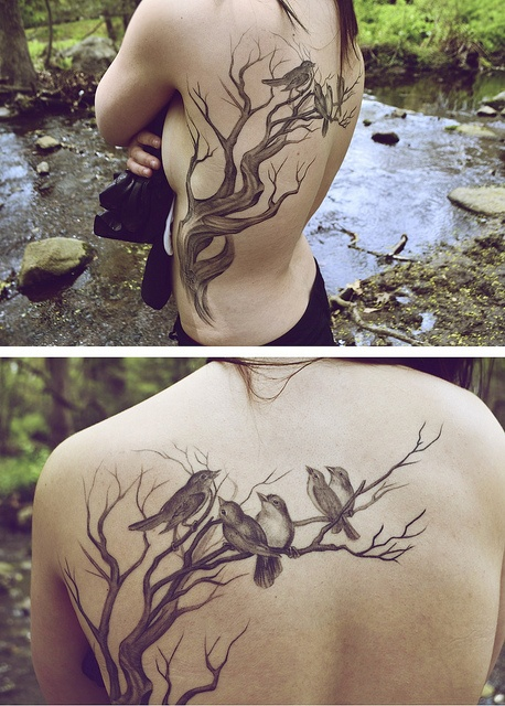 Tree and bird back tattoo