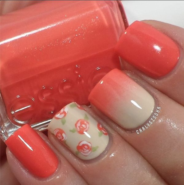Flower coral nails