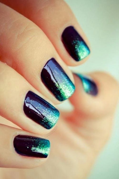 Stylish teal nails
