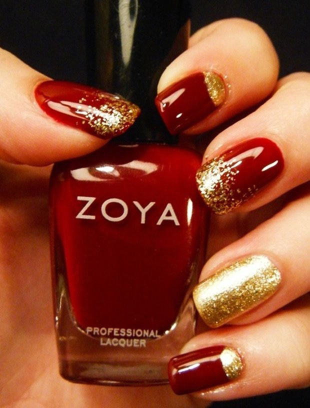 Red and gold nails art design