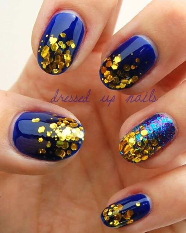 Blue and gold nails art design