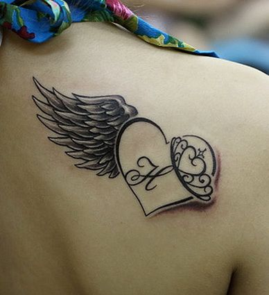 Heart shape and angel wings