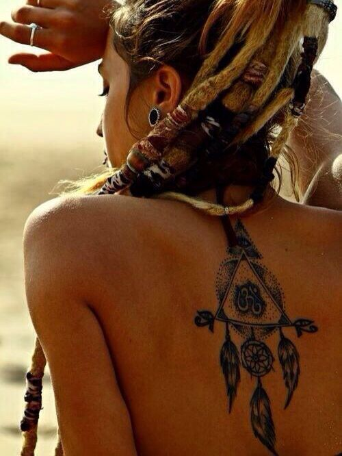Dreamcatcher tattoo on the back