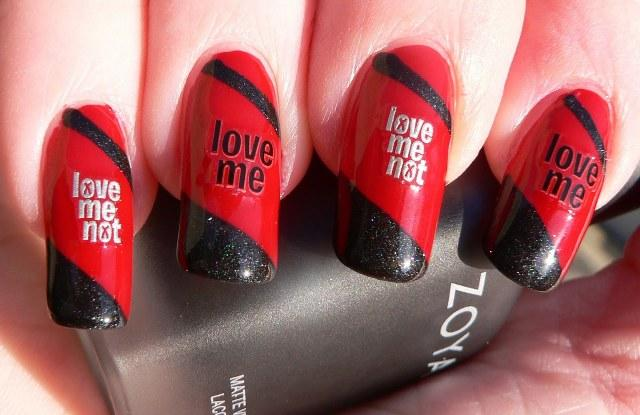 Red and black love letter nails