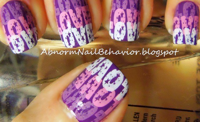 Purple love letter nails