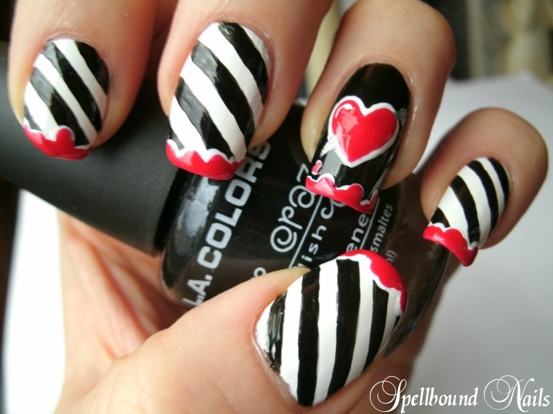 Stripped Heart Nail Designs