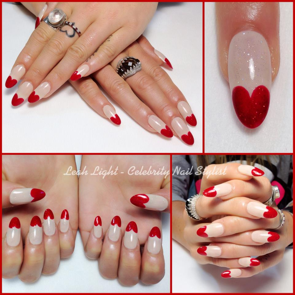 Red heart nail designs